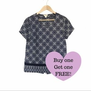 J.CREW Navy Floral Blouse size: Small (D003)